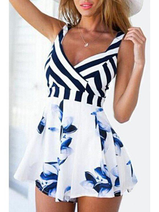 latest Stripes Spliced V Neck Sleeveless Playsuit - AS THE PICTURE S