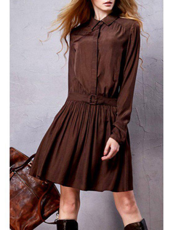 hot Long Sleeve Solid Color Tunic Dress - COFFEE S