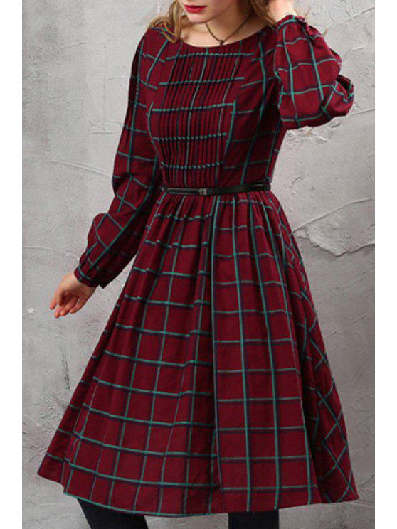 shop Tartan Pattern Pleated Tunic Dress with Belt - WINE RED S