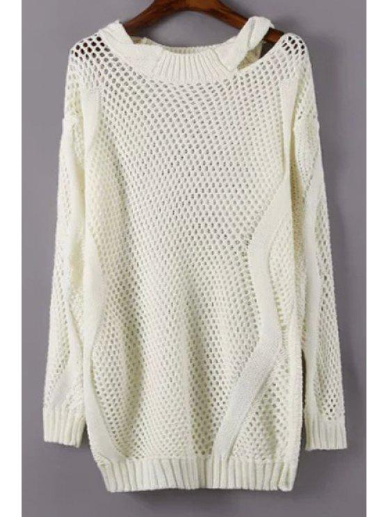 buy Jewel Neck Solid Color See-Through Sweater - WHITE ONE SIZE(FIT SIZE XS TO M)
