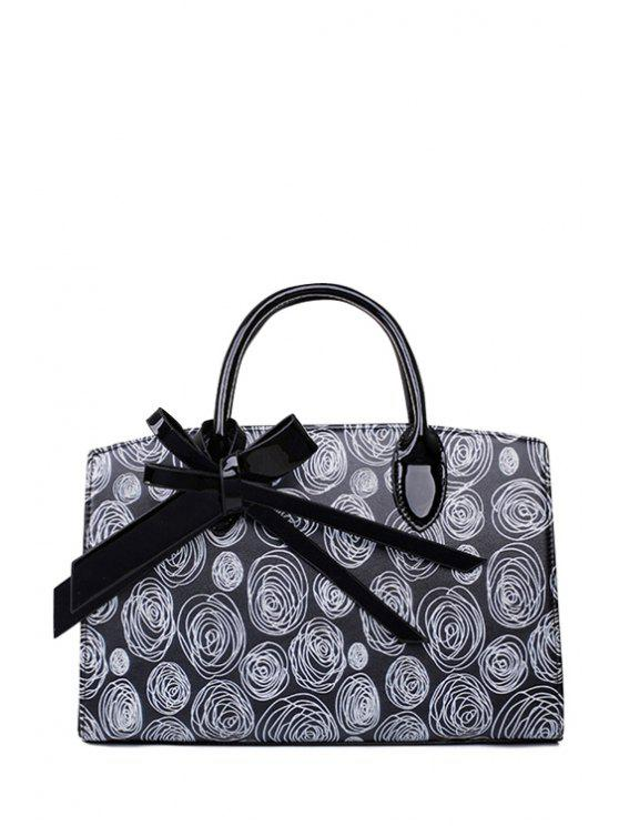 womens Scrawl Patent Leather Bowknot Tote Bag - BLACK