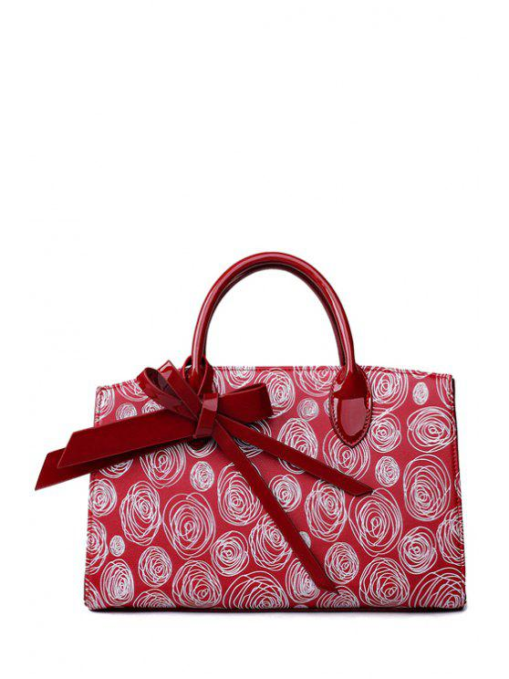 best Scrawl Patent Leather Bowknot Tote Bag - WINE RED