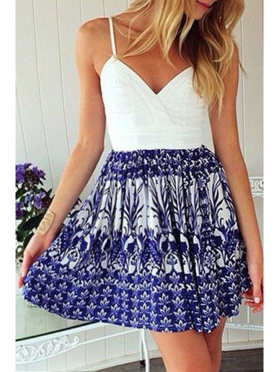 fancy Floral Print Spliced Cami Dress - AS THE PICTURE S