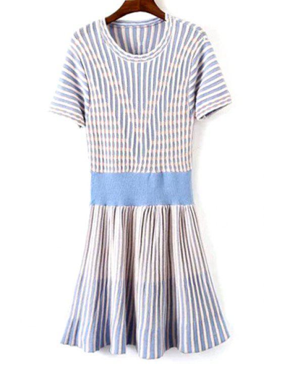 lady Blue White Stripe Short Sleeve Dress - LIGHT BLUE ONE SIZE(FIT SIZE XS TO M)