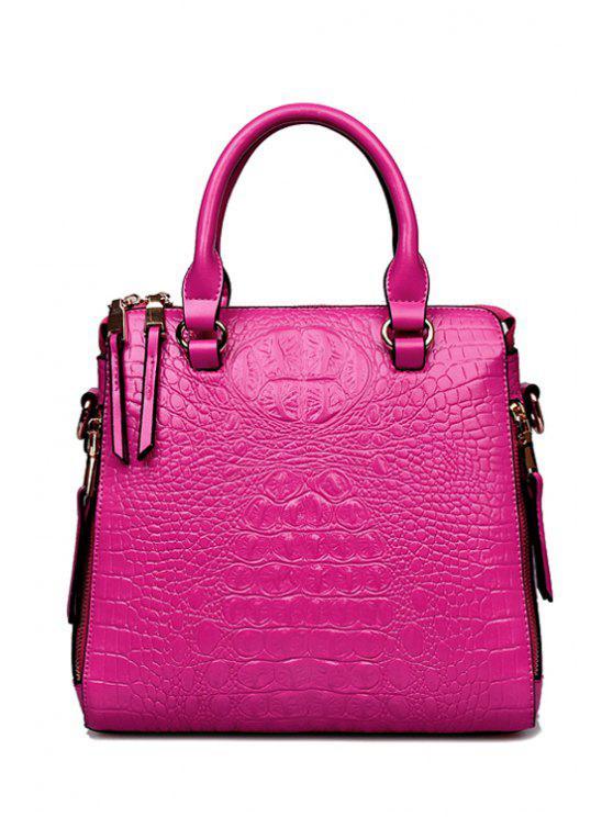 online Crocodile Print Zippers Rivets Tote Bag - ROSE