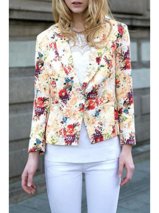 ladies Floral Lapel Neck Long Sleeve Blazer - BEIGE XL