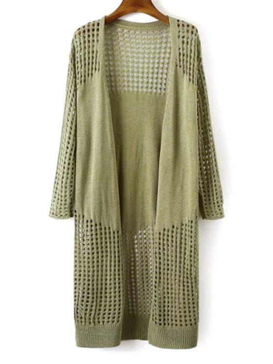 shop Solid Color Mesh Long Sleeve Cardigan - PEA GREEN ONE SIZE(FIT SIZE XS TO M)
