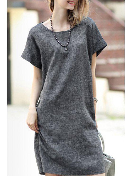 unique Solid Color Linen Straight Dress - GRAY S