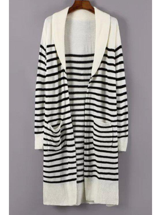 latest Turn-Down Collar White Black Stripe Cardigan - WHITE ONE SIZE(FIT SIZE XS TO M)