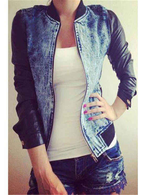 ladies PU Leather Spliced Stand Neck Jacket - LIGHT BLUE S