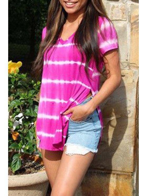 online Tie-Dyed Irregular Hem T-Shirt - PURPLE S