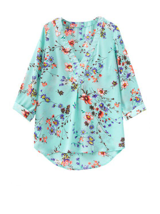 online V-Neck Tiny Floral Print 3/4 Sleeve Shirt - AS THE PICTURE S