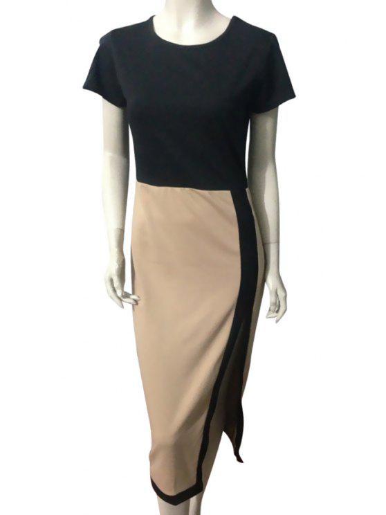 sale Color Block Slit Short Sleeves Dress - APRICOT S