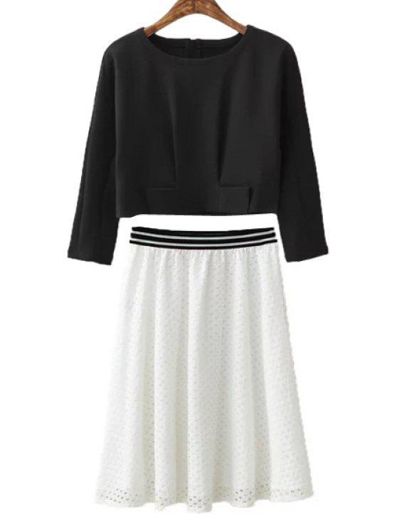 fancy Black Long Sleeve T-Shirt + Openwork Skirt - WHITE AND BLACK S