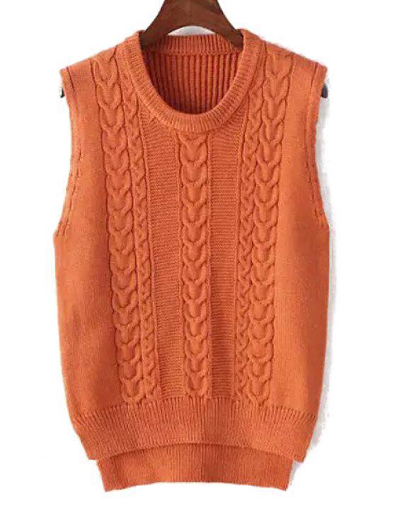fancy Plait Pattern High Low Sleeveless Sweater - ORANGE ONE SIZE(FIT SIZE XS TO M)