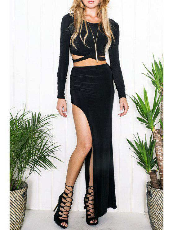womens Long Sleeve Crop Top + Solid Color High Slit Skirt Twinset - BLACK S