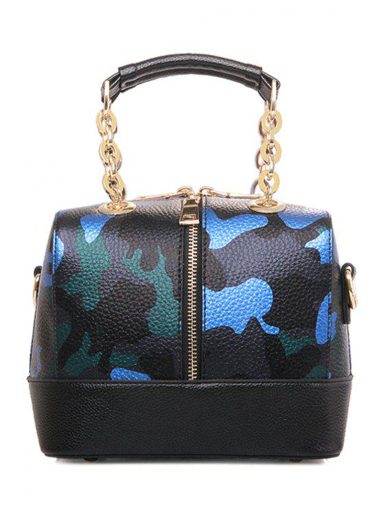 hot Chain Camouflage Pattern Metallic Tote Bag - SAPPHIRE BLUE