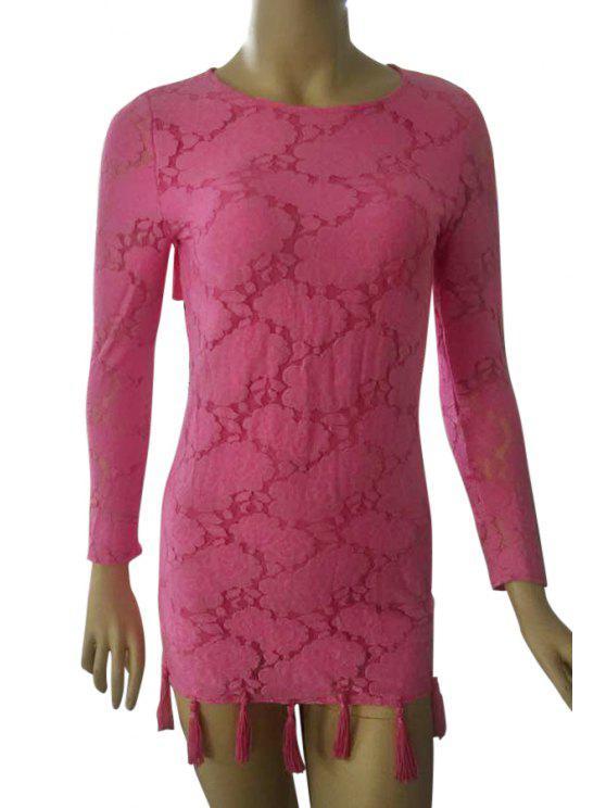 unique Lace Open Back Long Sleeve Dress - ROSE S
