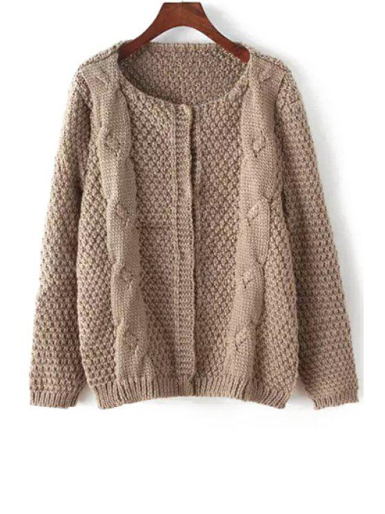 women Solid Color Plait Long Sleeve Cardigan - KHAKI ONE SIZE(FIT SIZE XS TO M)