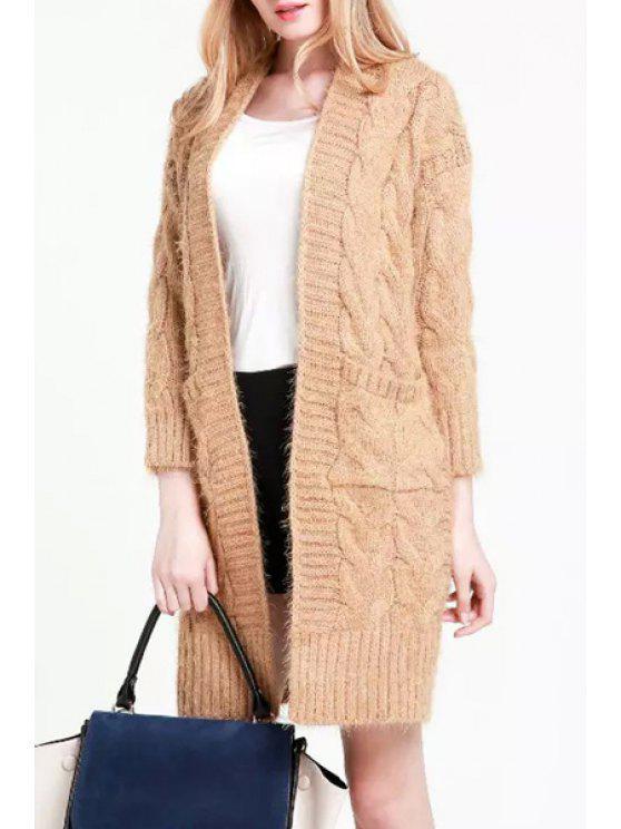 lady Plait Pattern Pocket Long Sleeve Cardigan - KHAKI ONE SIZE(FIT SIZE XS TO M)