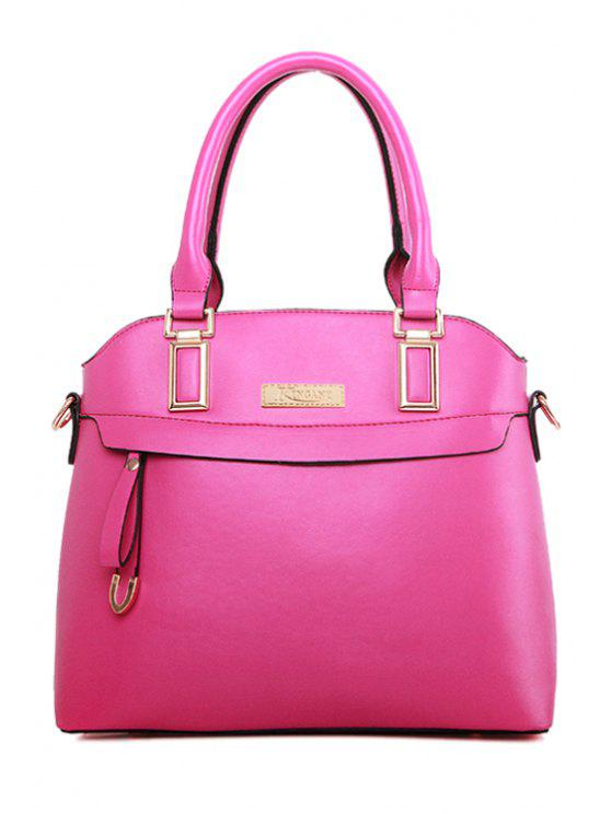 fashion Metal Solid Color Zipper Tote Bag - ROSE
