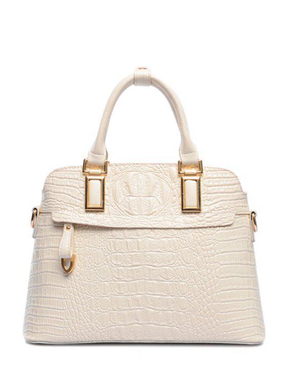 women's Metal Crocodile Print Zipper Tote Bag - WHITE
