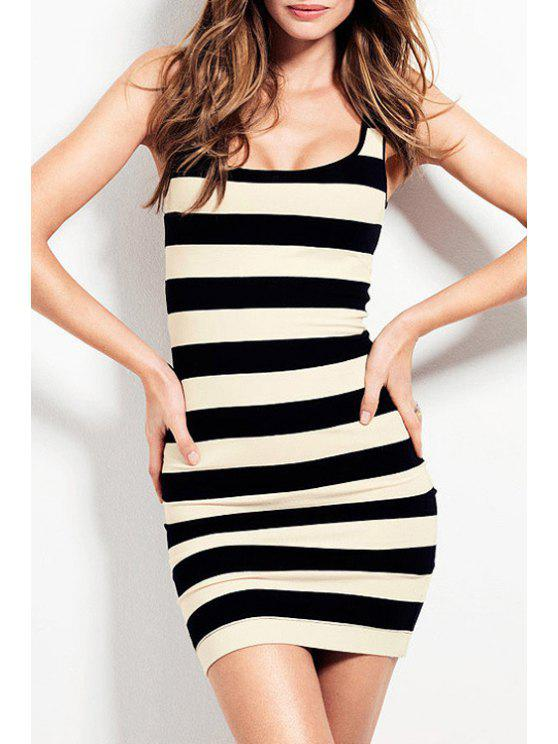 womens Sleeveless Striped Bodycon Dress - WHITE AND BLACK 2XL