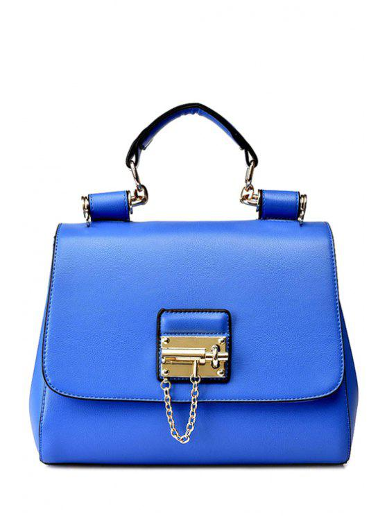 shops Metallic Chain Solid Color Tote Bag - BLUE