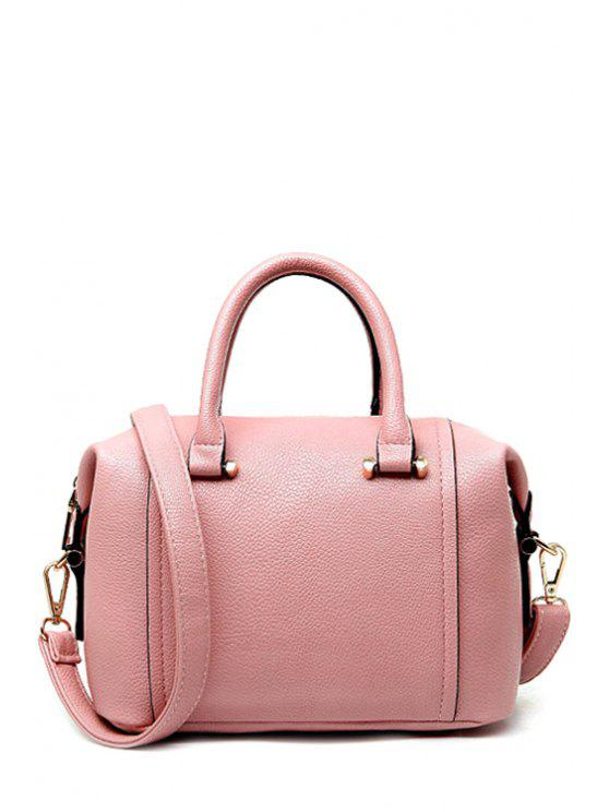 womens PU Leather Candy Color Zipper Tote Bag - PINK