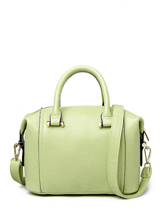 best PU Leather Candy Color Zipper Tote Bag - LIGHT GREEN