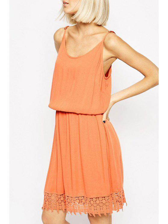 sale Lace Spliced Cami Orange Dress - ORANGE L