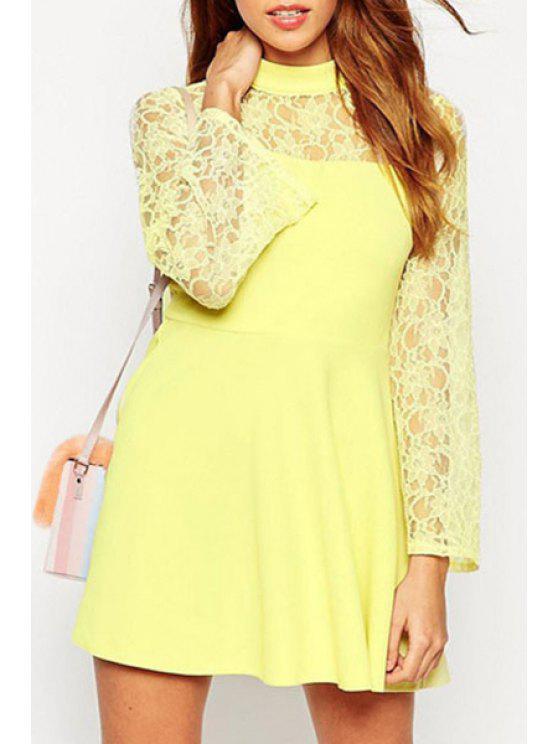 women's Yellow Stand Neck Long Sleeve Dress - YELLOW S