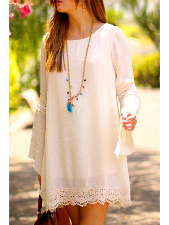 Lace Splicing Loose Fitting Long Sleeve Dress