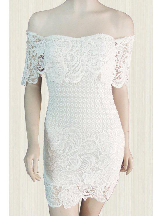 affordable White Lace Slash Neck Bodycon Dress - WHITE S