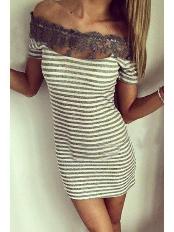 affordable Off-The-Shoulder Lace Spliced Bodycon Dress - GREY AND WHITE L