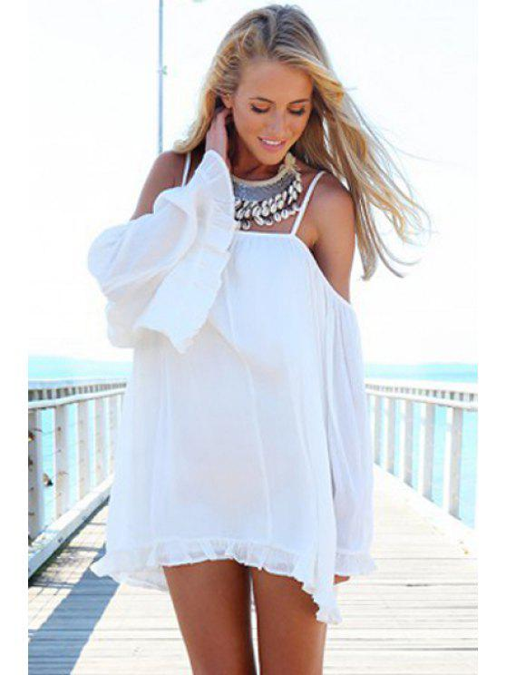 shops Spaghetti Strap White Flounce Long Sleeve Dress - WHITE S