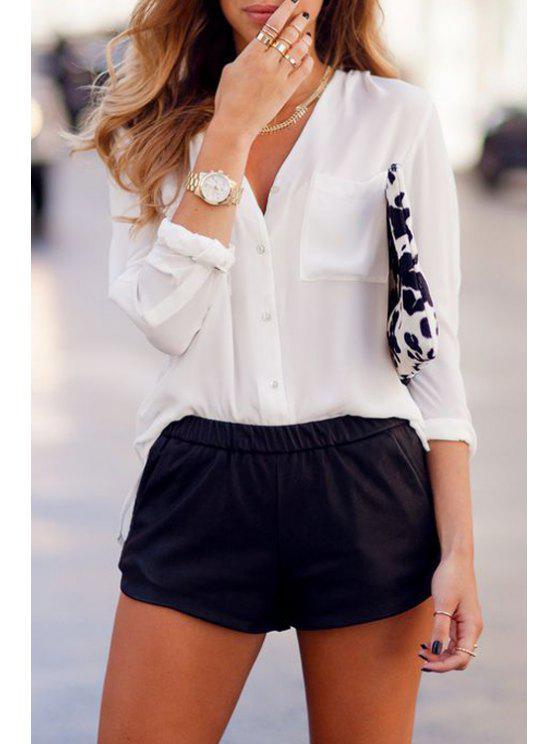 women V Neck White Long Sleeve Shirt - WHITE S