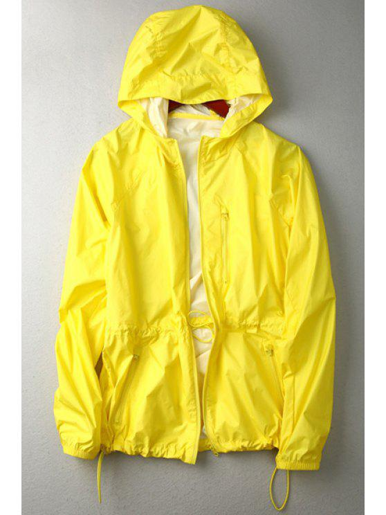 sale Pure Color Hooded Long Sleeve Coat - YELLOW M