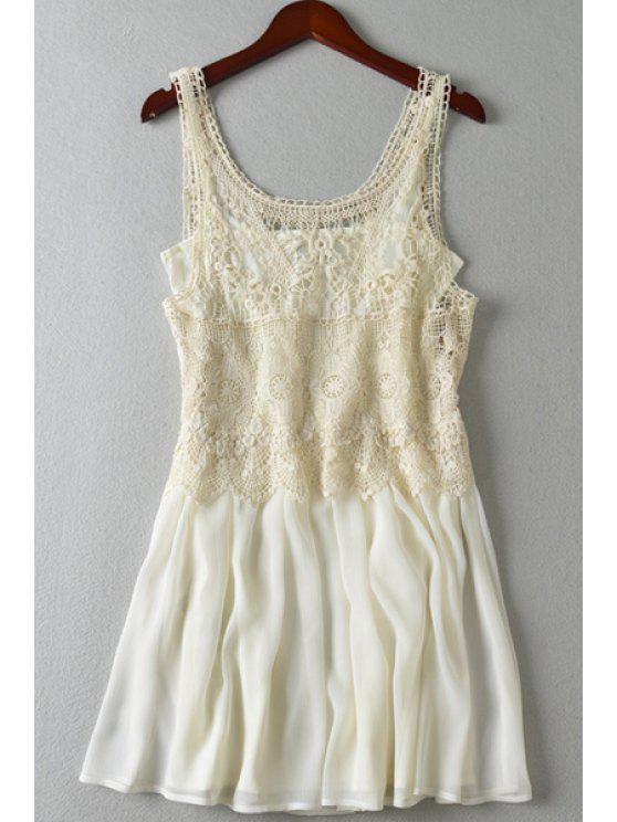 new Crochet Splicing Sleeveless A Line Dress - OFF-WHITE S