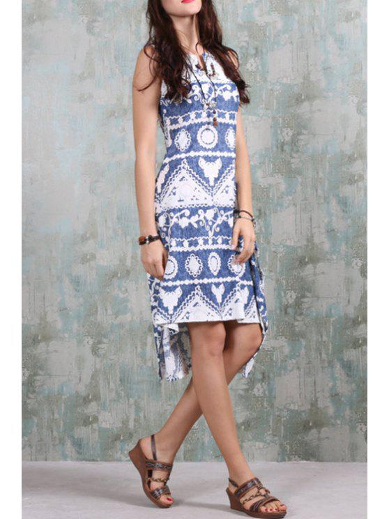 hot Ethnic Pattern High-Low Hem Dress - BLUE AND WHITE S