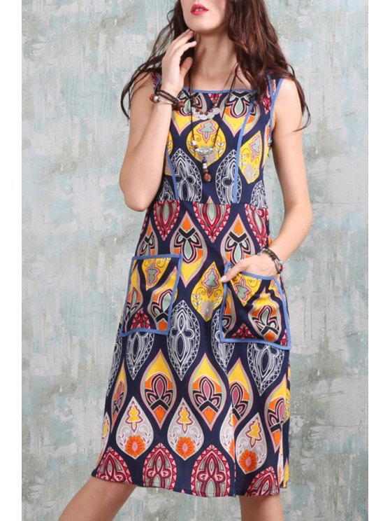 shop Square Neck Printed Pocket Midi Dress - COLORMIX S