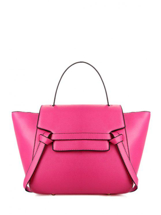 shop Belt Candy Color PU Leather Tote Bag - ROSE