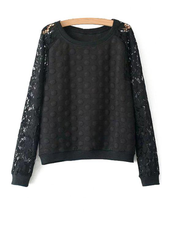 lady Polka Dot Lace Long Sleeve Sweatshirt - BLACK L