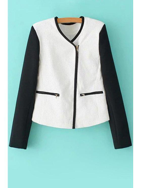 sale Black White Splicing Long Sleeve Coat - WHITE AND BLACK S