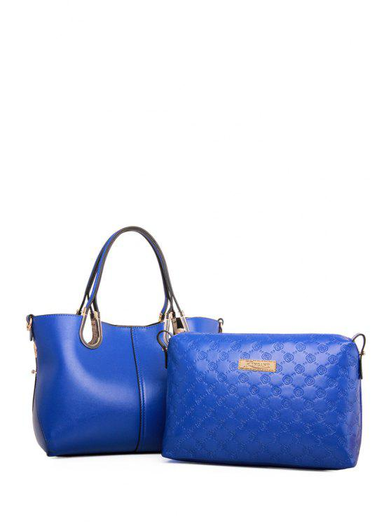 chic Solid Color Hollow Out Tote Bag - BLUE