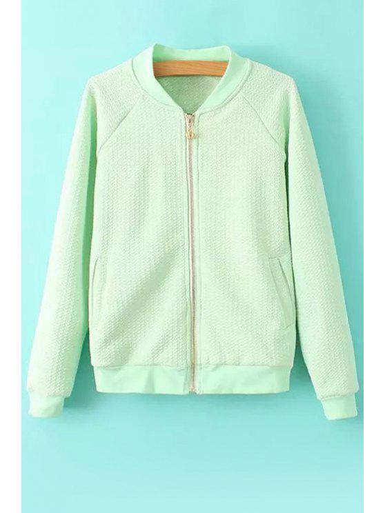 lady Solid Color Stand-Up Collar Zipper Fly Coat - GREEN S