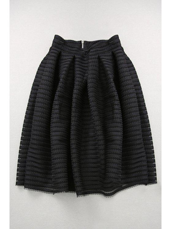 new Hollow Out High Waisted A Line Skirt - BLACK S