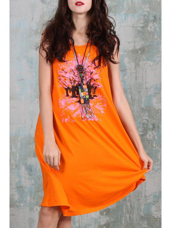 shop Sleeveless Floral Print Loose-Fitting Dress - ORANGE RED ONE SIZE(FIT SIZE XS TO M)