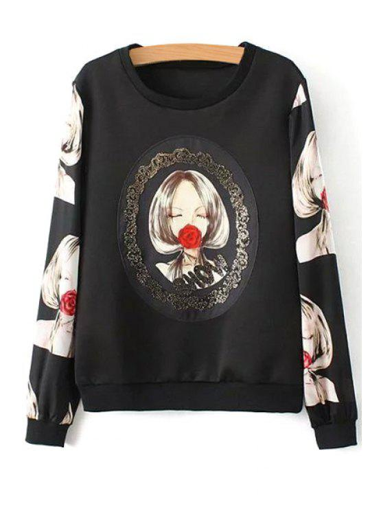 new Girl Rose Print Long Sleeve Sweatshirt - BLACK L