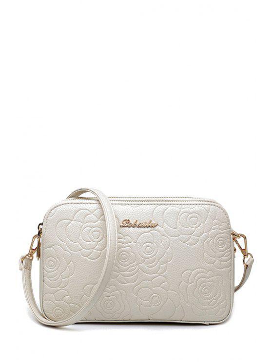 lady PU Leather Flowers Pattern Crossbody Bag - WHITE